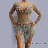 sparkly silver diamond rhinestone Tassel nude one piece jumpsuit See through bodysuit Party DJ Singer Stage club outfits women