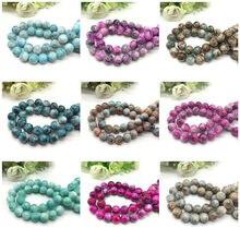 Atacado 6 8 10mm padrão de vidro talão espaçador jóias grânulos em massa para fazer jóias diy pulseira colar jóias