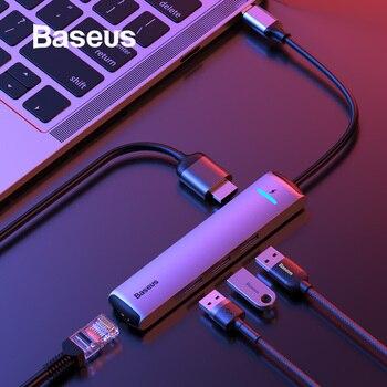 HUB de USB C Baseus USB vers Multi HDMI USB 3.0 RJ45 lecteur de Carder adaptateur OTG répartiteur USB pour MacBook Pro Air USB Dock Type C HUB