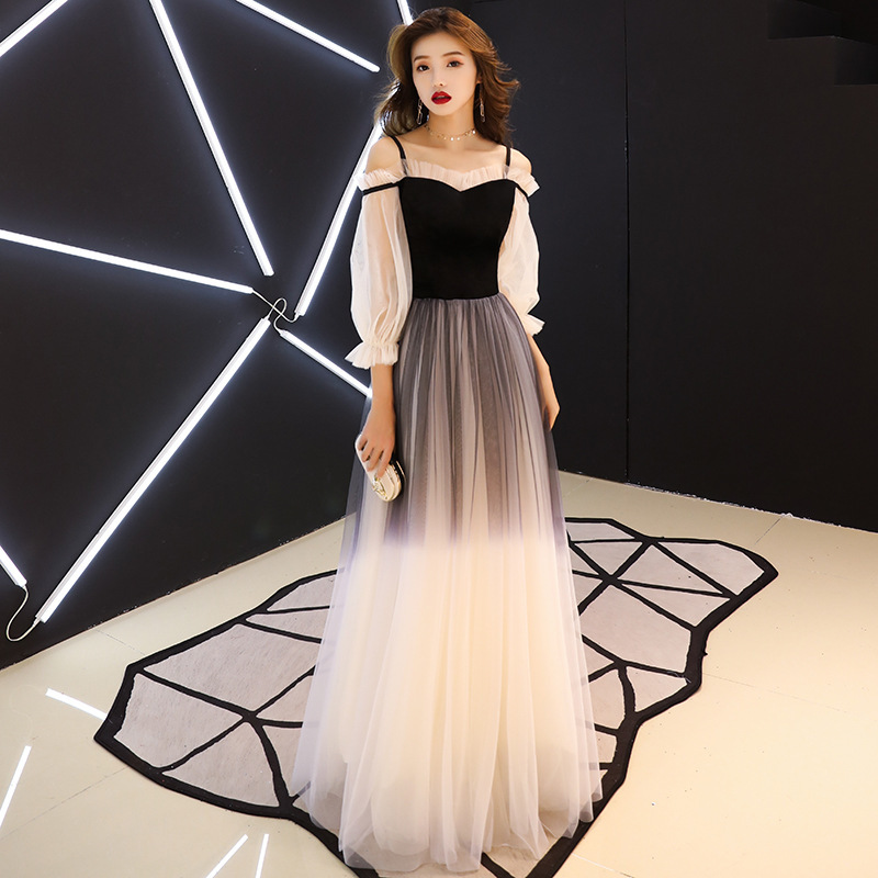 2019 Sale Bridesmaid Annual Meeting Evening Dress Women 2020 New Style Long Celebrity Banquet Elegant Show Thin Host Winter