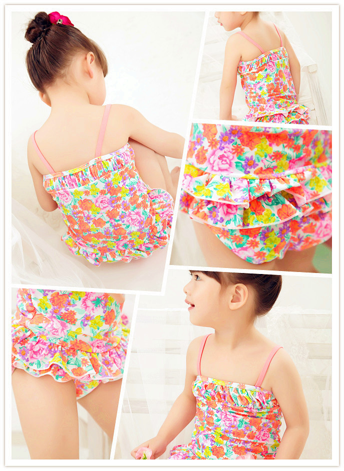Special Offer KID'S Swimwear Small Children Baby Orange Floral Skirt-Sweet Spa Resort One-piece Swimwear