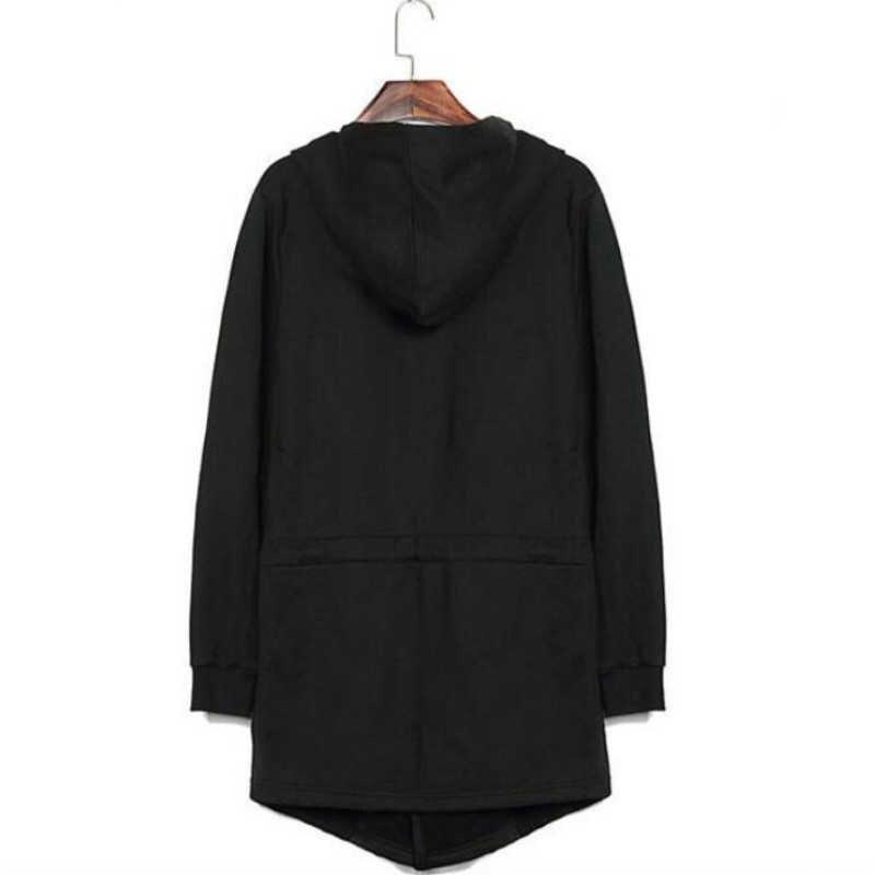 Moda superior dos homens preto com capuz cardigan casacos longos masculino punk gótico estilo coreano solto casaco longo manga comprida trench tamanho grande 5xl