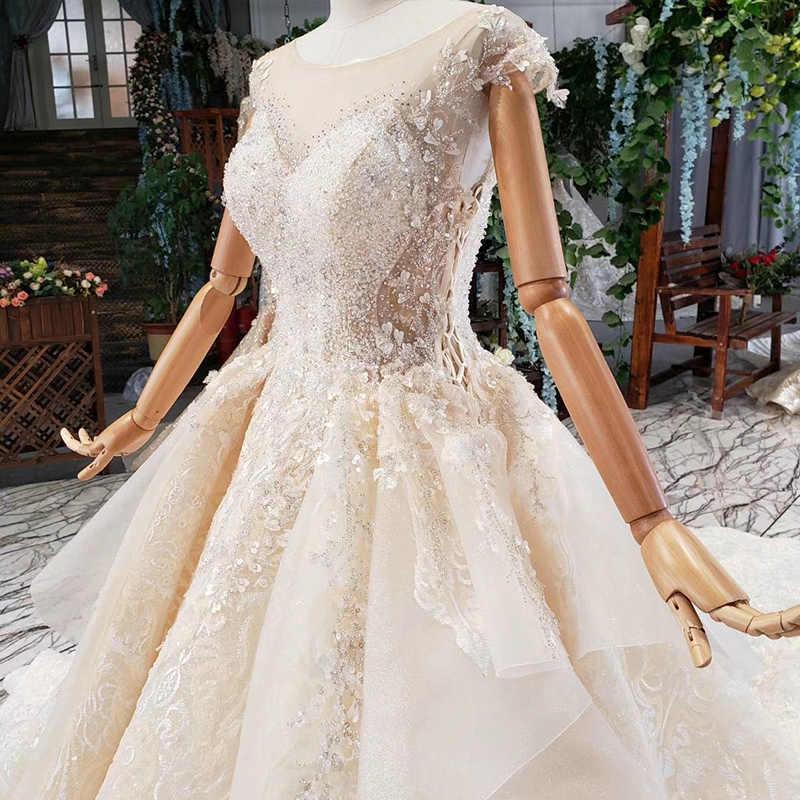 HTL789 כדור שמלת חתונה שמלת נסיכת כלה שמלת o-צוואר ואגלי אפליקציות נצנצים שווי שרוולים קפל שמלת vestito matrimonio