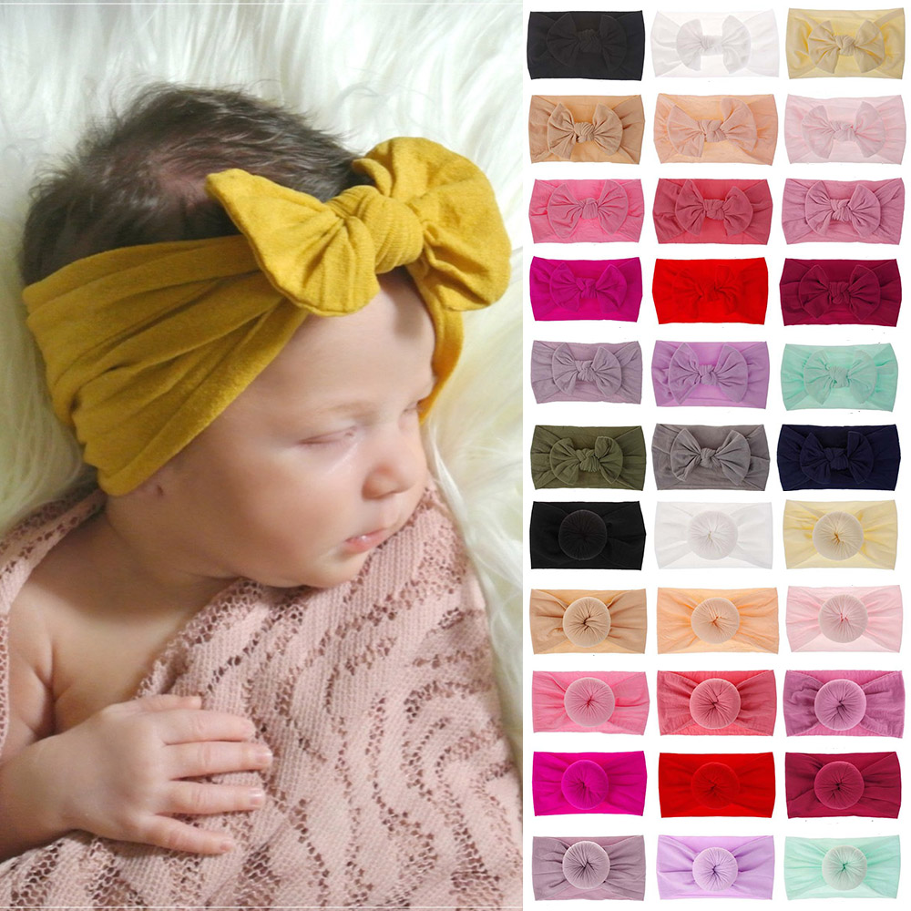 21 Colors Baby Bow Nylon Headband For Girls Spring 2020 Kids Soft Elastic Round Head Wrap Newborn Bow Hairband Hair Accessories
