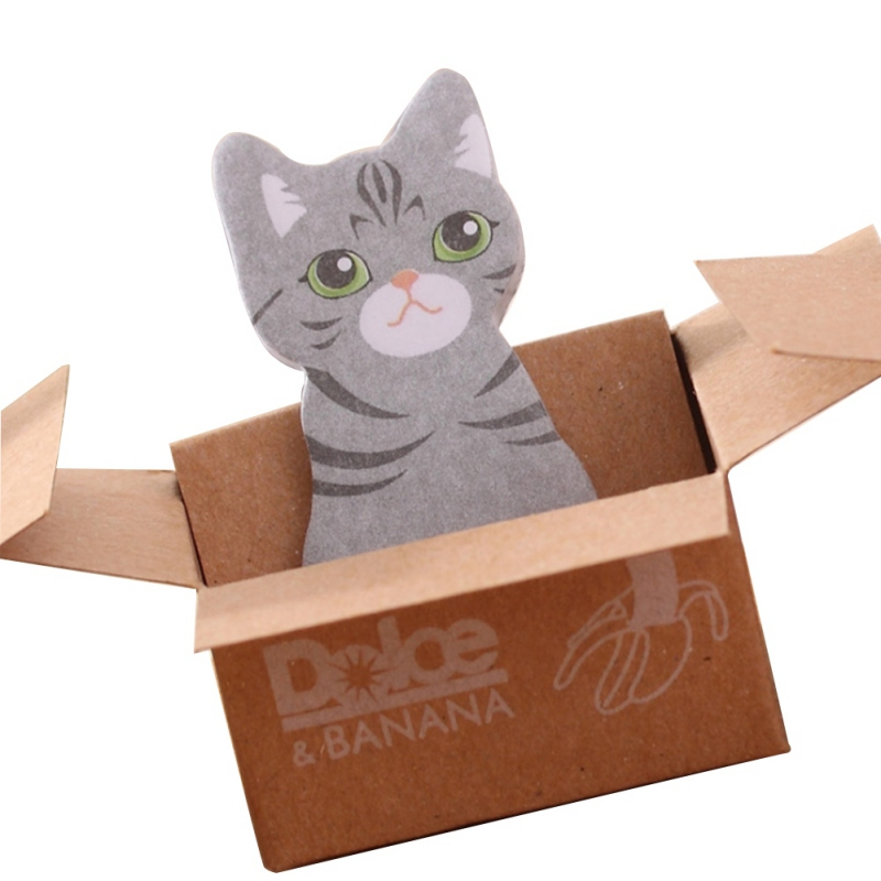 Kawaii милые заметки, этикетки, памятки, Подарочные палочки, канцелярские товары, школьные, Kitty Cat, картонные, офисные наклейки, липкие - Цвет: D