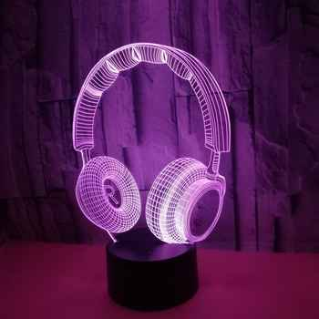 7Color Headphone 3D lamp Change Colorful Touch Usb And Remote Control Switch Led Night Light Home Decor Creative Gift