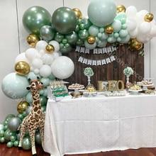 107 pièces fête ballons guirlande Macaro menthe blanc métal or vert ballon arc Kit pour anniversaire nouvel an fête de mariage décoration