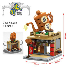 Architecture Mini Creator City Chinatown Street View Building Blocks Store Fabric Shop Tea House Bricks Figures Toy for kid gift