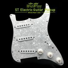 Pickup per battipenna per chitarra elettrica a bobina singola caricati precablati 11 fori SSS rosso/bianco accessori per chitarra bianco perla