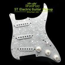 Tek bobin elektro gitar Pickguard manyetikler yüklü kablolu 11 delikli SSS kırmızı/beyaz inci beyaz gitar aksesuarları