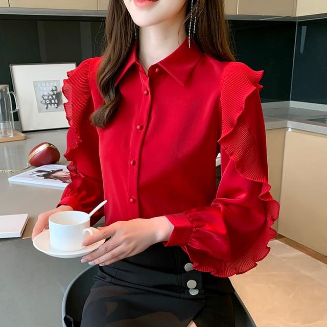 Korean Women Blouses Women Chiffon Blouse Shirts Woman Lantern Sleeve Shirt Woman Ruffles Blouse Office Lady Red Shirt Plus Size 4