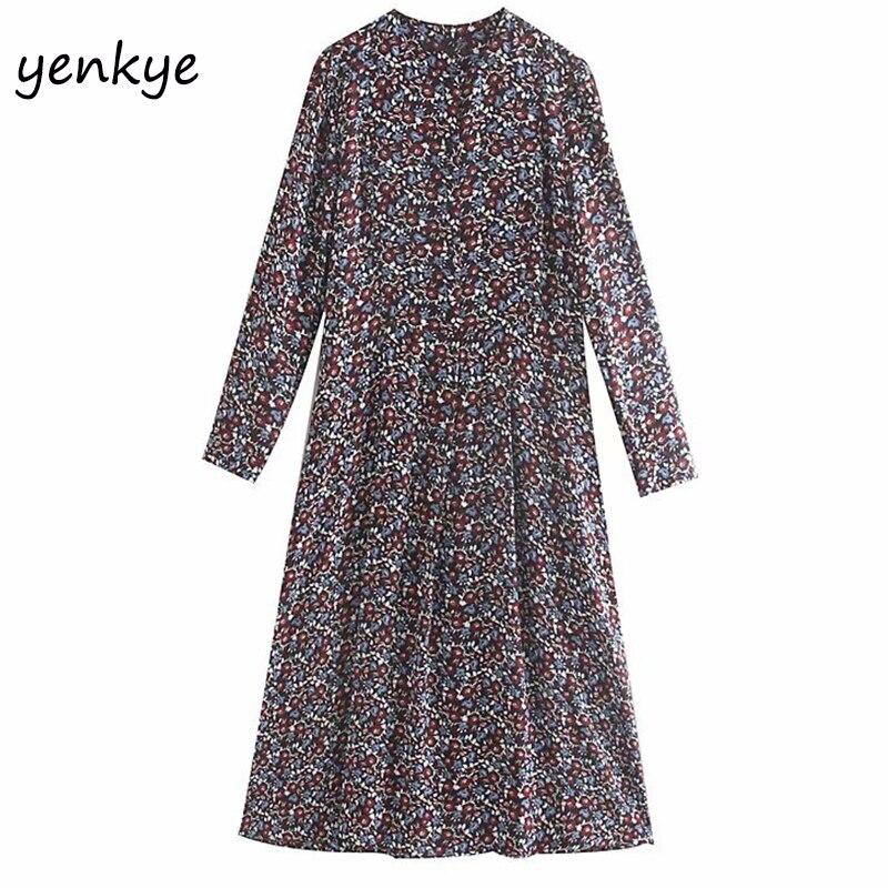 2019 Femmes Vintage Imprimé Floral robe longue décontractée Femme Col Rond Manches Longues Plissé Automne Robe grande taille OZZ9269