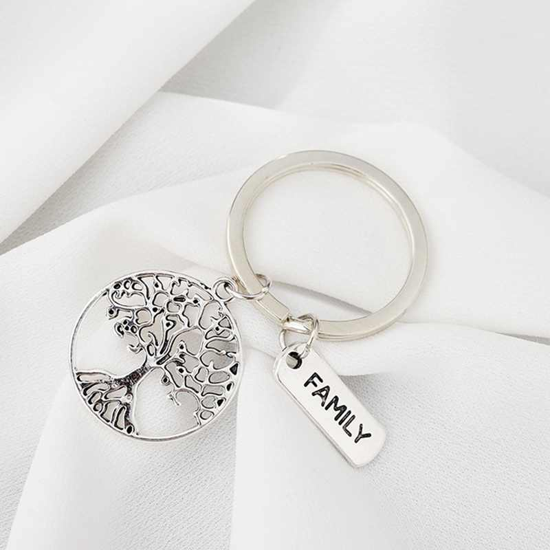 Family Tree Keychain Hollow Charm Keyring Family Love Jewelry Gifts Women Men Friends New