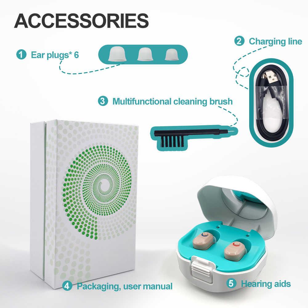 Цифровой 2021 Новый беспроводной слуховой аппарат с лучшей зарядкой, мини-цифровой невидимый слуховой аппарат, усилитель звука, портативный слуховой аппарат