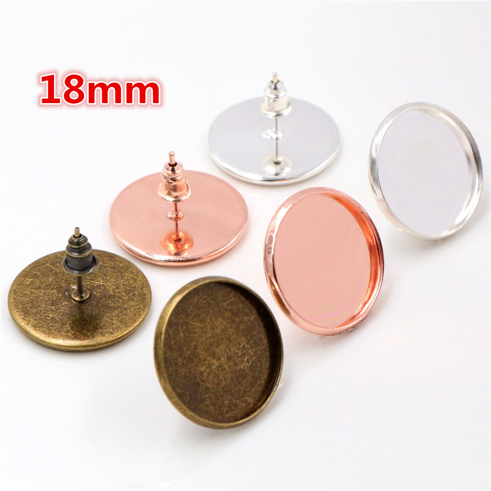 18mm 20pcs Silver And Bronze And Rose Gold Plated Earring Studs,Earrings Blank/Base,Fit 18mm Glass Cabochons,Earring Bezels