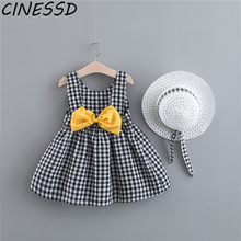 baby lace rompers 3 pieces set new infant princess style party dress ropa bebe clothing coveralls newborn baby girl clothes Baby Girl Dress Print Plaid Bow Summer Princess Party Dress Infant Toddler Clothes Newborn Baby Dress+Hat 2pcs Kids Clothing Set