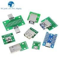 Conector USB macho MINI MICRO USB A Adaptador DIP, conector hembra 2,54, convertidor PCB hembra tipo B 3,0, 10 Uds.