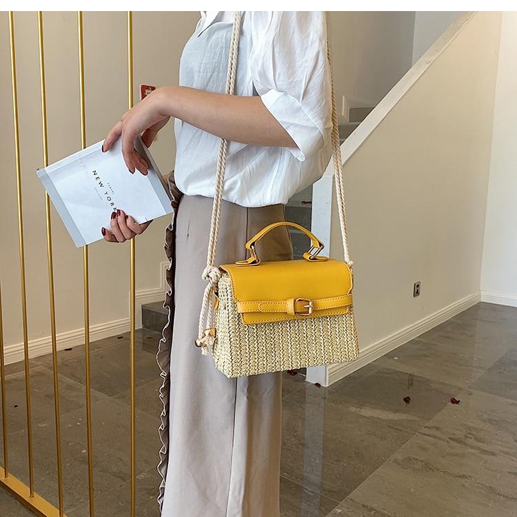 Mode solide tresse PU sac à bandoulière femmes sacs pour femmes 2020 nouveau chanvre corde épaule strop conception sac à main rabat serrure attraper sacs