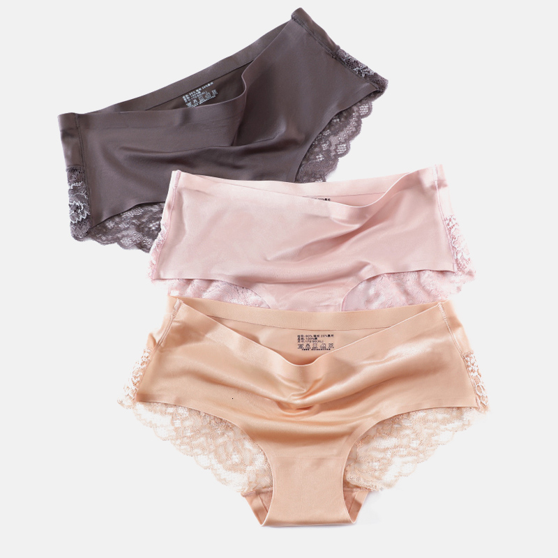 Sexy Satin Women Panties High Quality Seamless Underwear Solid Lingerie Plus Size Lace Underwear Lingerie Girls Intimates Briefs