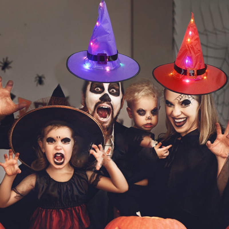 Halloween Funny Props Glow Witch Hat Halloween Family Party Cosplay Hat Props Makeup Party Witch Night Light Cap For Parent Kids