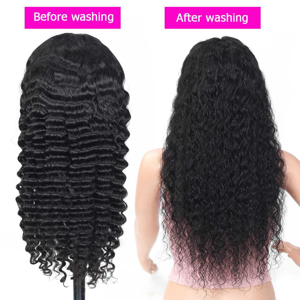 Peluca con malla frontal de ola profunda de 13x4, pelucas de cabello brasileño baratas sin pegamento, pelucas de cabello humano con encaje frontal para mujer, densidad 150% no remy