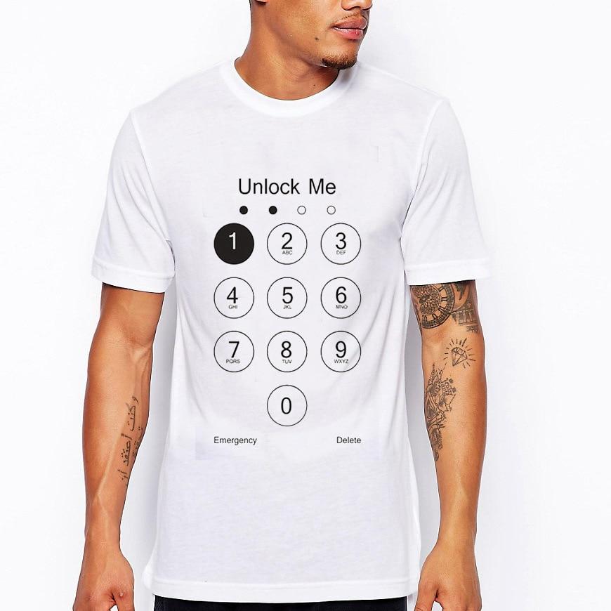 Harajuku Streetwear S-4XL Novelty Password Unlock Men White T-Shirts Casual Fun Polyester Tee Tops New Summer T Shirt