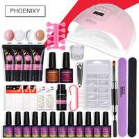 Set For Manicure With 80W Lamp Nail Polish Set And Poly Gel Set Nail Art Tools Extension Set Semi Permanent Manicure Set Nail