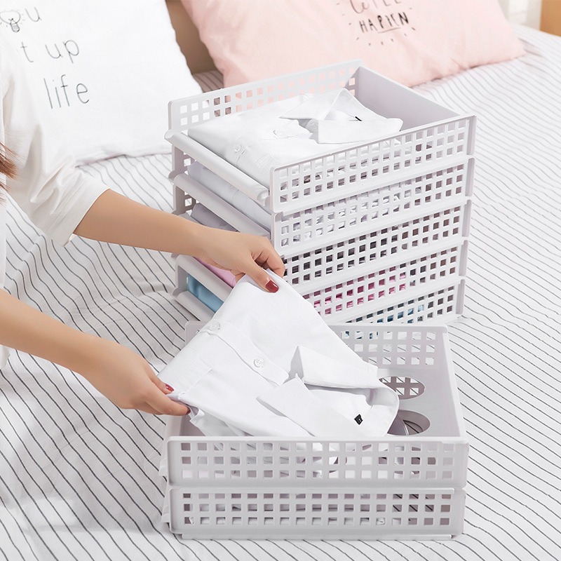 Organizador de almacenamiento de ropa desmontable bandeja de armario tablero de partición cajón fácil capas carpeta libro titular organizador de almacenamiento hogareño Estante de baño Sokoltec hw47885wh
