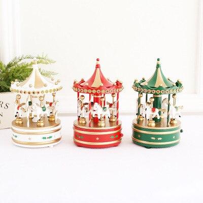 Купить музыкальная шкатулка в виде карусели рождественская деревянная