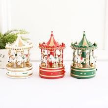 Музыкальная шкатулка в виде карусели Рождественская деревянная