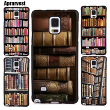 Aprarvest Vintage BOOK Bookworm bookshelf Rubber Phone Cases For Samsung S6 S7 edge S8 S9 S10 plus Note 5 8 9 10 Back Cover(China)