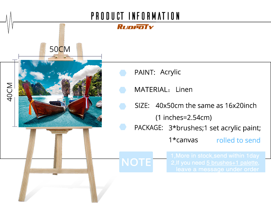 H47545bc375ff4577b99b39ef565cca6ds RUOPOTY Frame Mountain Lake DIY Painting By Numbers Landscape Handpainted Oil Painting Modern Home Wall Art Canvas Painting Art