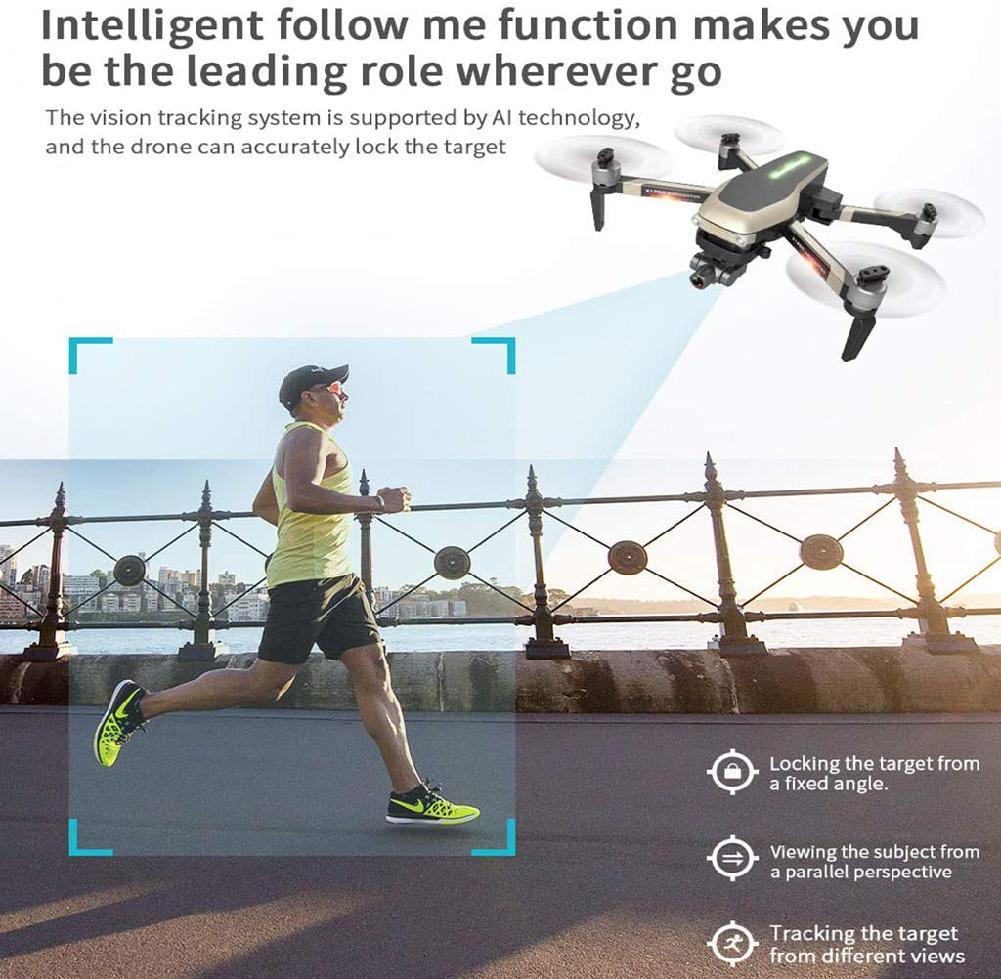 X1 PRO GPS Folding Drone 4k Wide Angle WiFi FPV HD Camera Selfie Two-Axis Mechanical Gimbal GPS One Key to Return (1 battery)