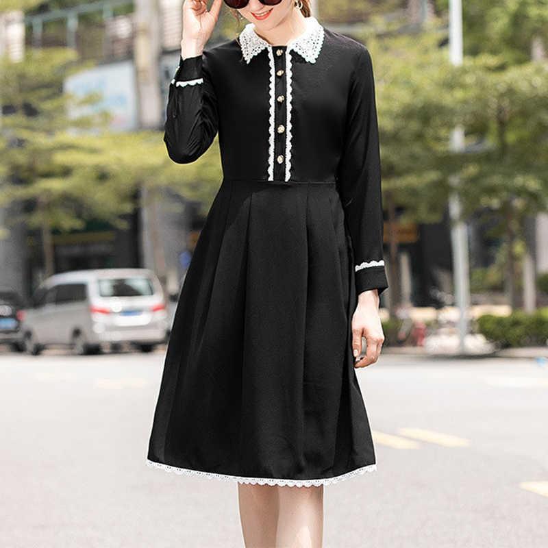 Sonbahar Pist Elbiseler 2019 Kadınlar Yüksek Kalite Moda Dantel Patchwork Uzun Kollu Midi Elbise vestidos de festa