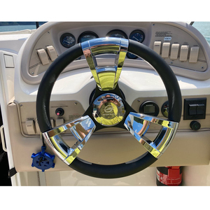 Image 2 - 350mm Boat Steering Wheel Polished 3 Spoke boats with 3/4 Inch Shaft Boat Accessories Marine for Vessels Yacht