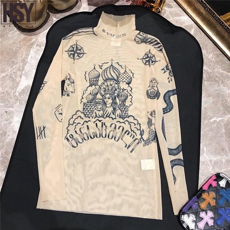【HSY】2019 Autumn New Fashion Women Basal Top Goddess Tatoo Print Long Sleeve High Tight Collar Nude Color Mesh Yarn T-shirt