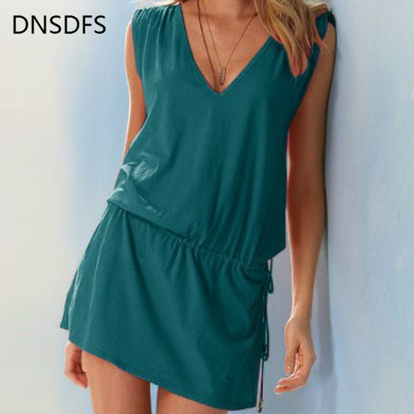 Women Sundress Casual Summer Beach Dress Sexy V Neck Backless Tight Waist Short Dress Boho Sleeveless Loose Dresses Green White