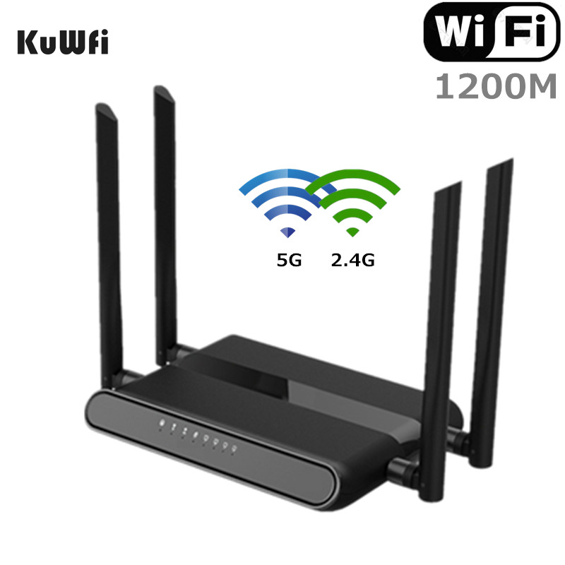 KuWFi 1200Mbps <font><b>WiFi</b></font> Router Dual Band Gigabit Wireless Internet Router AC1200 High Speed Router with USB 2.0&SD Card for Home image