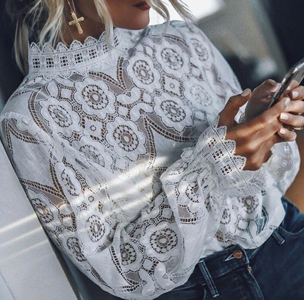 Simply Elegant White Lace Blouse Shirt Sexy Hollow Out Embroidery Feminine Blouse Women Long Lantern Sleeve Summer Tops Female