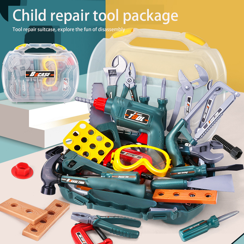 Children's Toy Toolbox Set Boy Play House Simulation Repair Electric Drill Repair Box Baby Screw Screw Toy 2 Years 3 Years Old