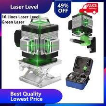 Niveau Laser 4D vert 16 lignes à nivellement automatique, lignes transversales horizontales et verticales à 360 degrés avec trépied pour l'extérieur