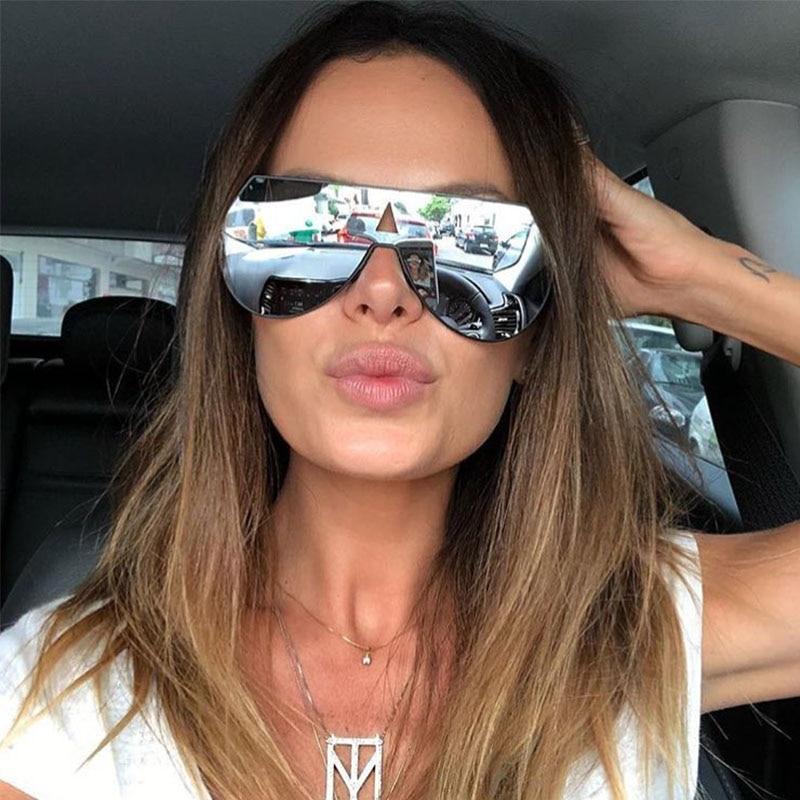 Fashion Unisex Mirror Sunglasses For Women Luxury Metal Brand Ladies Glasses Fashion Pilot High Quality Sunglasses Gafas De Sol