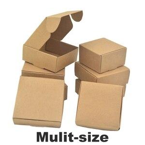 Wholesale 50pcs Natural Brown Kraft Paper Packaging Box Cajas de Carton Box Packaging Soap Box Wedding Favors Candy Gift Box(China)