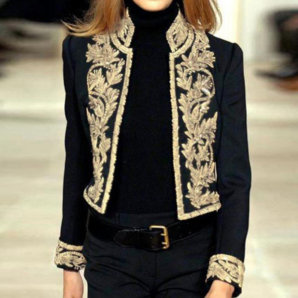 Blazer Mujer 2019 Women Print Long Sleeve Open Front Mandarin Collar Short Casual Ladies Office Wear Coat Blazer Noir A1