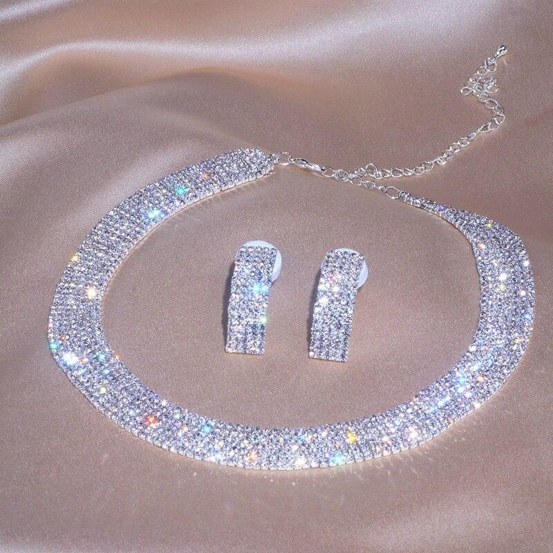 Luxe classique femme fiançailles Bijoux couleur argent cristal collier boucles d'oreilles ensemble de mariage fête Bijoux de mariée ensembles Bijoux