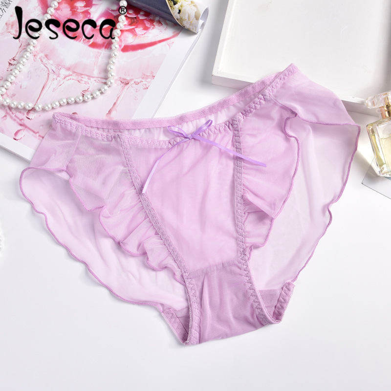 Jeseca New Sexy Women Lace Briefs Transparent Pink Underwear Panties Invisible Hollow Out Easy-Dry Breathable Seamless Lingerie