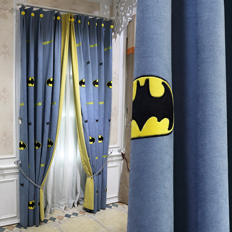 Cartoon American Children Batman Embroidery Shading Curtains For Living Dining Room Bedroom.