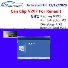 Recentemente pode clipe v207 para renault obd2 software de diagnóstico pode clipe v205 + presente reprog v191 + pino extrator v2 atualização dados para 2020