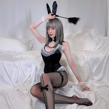 Kawaii Showgirl Uniforme Sexy Lingerie Hot Apertura Sul Cavallo Tuta Bunny Girl Oro Velluto Playboy Bunny Costumi di Halloween per Le Donne(China)