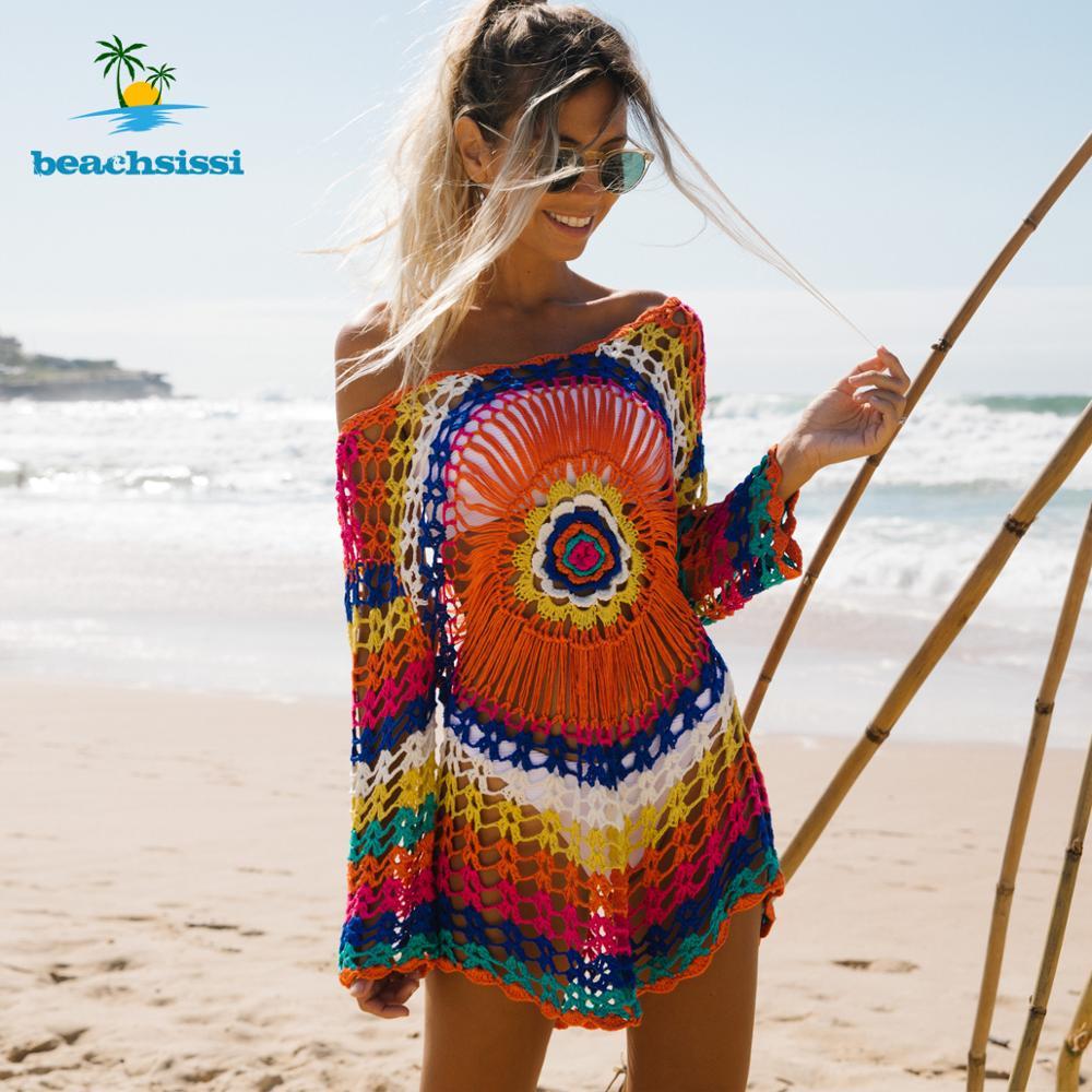 Beachsissi Colorful Knitted Cover Up Bikini Women Swimsuit Lace-up Kimono Beach Dress Bathing Suit Beachwear Tunic Robe 8